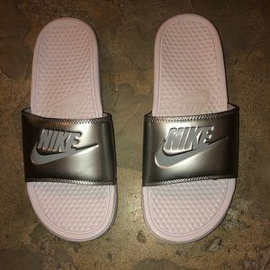 Women's Silver, Nike sliders.